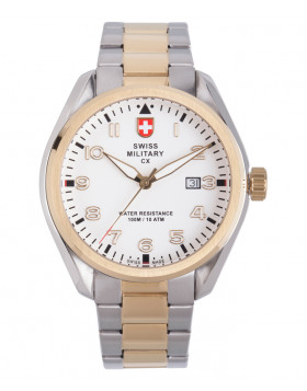CX Swiss Military MIRAGE Pilot Watch Swiss Quartz Date 10ATM White Dial 2863