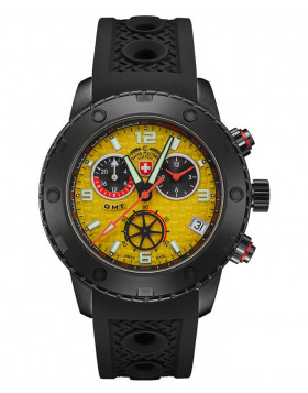 CX Swiss Military RALLYE GMT NERO 44mm DLC Case Chrono watch GMT Yell dial 2754