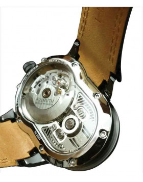 Azimuth CRAZY RIDER auto watch Motorcycle engine design Engine block back CHOC BROWN