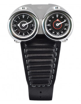 Azimuth TWIN TURBO mechanical watch Racing car theme 2 Time Zones Silver bonnet