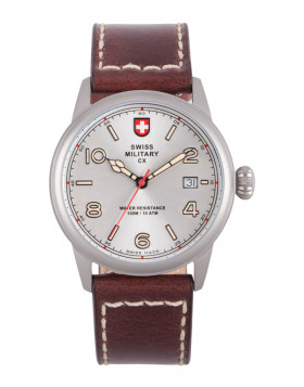 CX Swiss Military SPITFIRE Vintage Watch Swiss Quartz Date 10ATM Silv Dial 2870