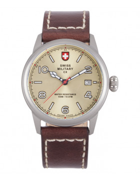 CX Swiss Military SPITFIRE Vintage Watch Swiss Quartz Date Champagne Dial 2871