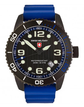 CX Swiss Military MARLIN SCUBA NERO Swiss watch 20ATM Sapphire Blk/Blu dial 2707