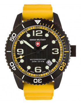 CX Swiss Military MARLIN SCUBA NERO Swiss watch 20ATM Sapphire Blk/Yel dial 2709