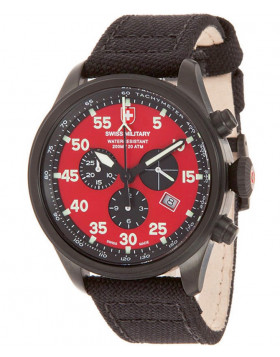 CX Swiss Military HAWK NERO RAWHIDE Chrono watch Black PVD case Red dial 27341