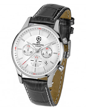 JACQUES LEMANS Quartz Chronograph Sports Watch UEFA 40mm SS Case 10ATM Wht Dial