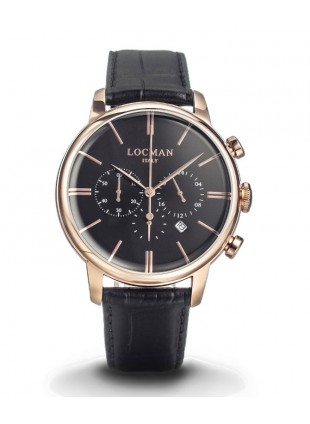 LOCMAN Watch 1960 Cronografo Quartz Men's Chrono 5ATM 42mm Blk Dial Rose Indices