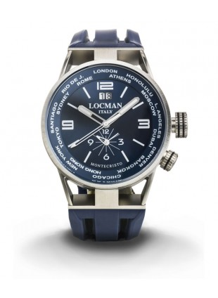 LOCMAN Watch World Dual Time Men's Automatic Chronograph 44mm Case Blue Dial