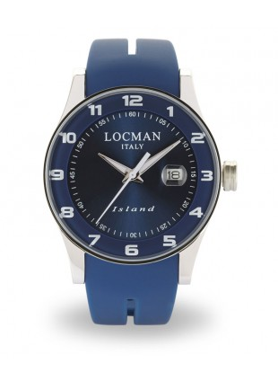 LOCMAN Watch Island Time Quartz 40mm Case 5ATM Blu Strap Dark Blue Sapphire Dial