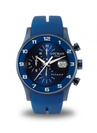 LOCMAN Watch Island Quartz Chronograph 40mm PVD Case 5ATM Blue Strap Blue Dial
