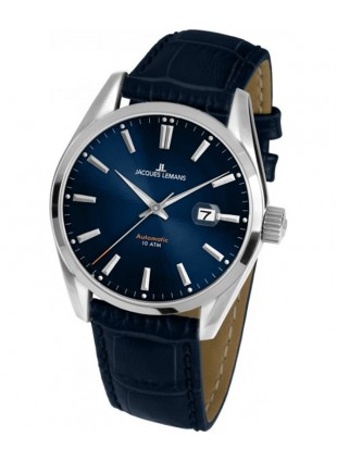 JACQUES LEMANS 'Classic' Automatic Date Watch 10ATM 42mm Case Blue Strap & Dial