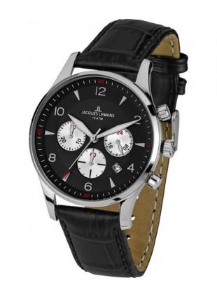 JACQUES LEMANS 'Classic' Chronograph Date Watch 10ATM 40mm Case Blk Strap & Dial