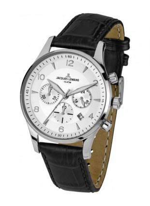 JACQUES LEMANS 'Classic' Chronograph Date Watch 10ATM 40mm Case Wht Strap & Dial