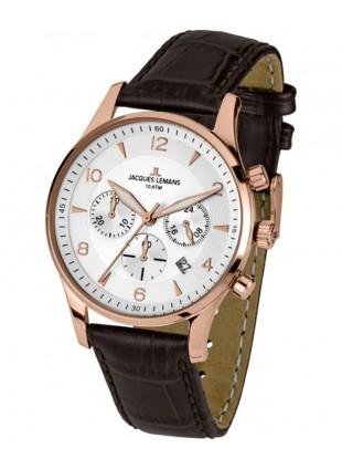 JACQUES LEMANS 'Classic' Chronograph Date Watch 10ATM 40mm R/Gold Case Blk Dial