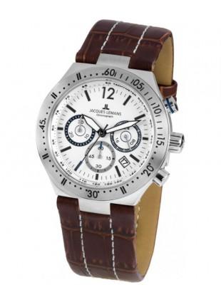 JACQUES LEMANS Sports 'Dover' Quartz Chronograph Date Watch 42mm Case White Dial