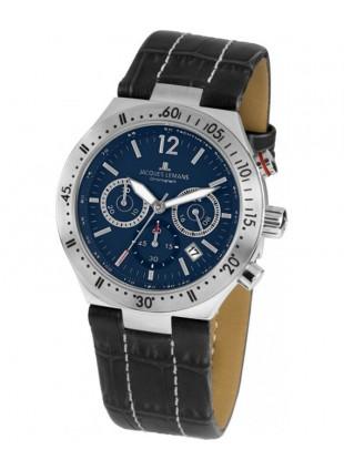 JACQUES LEMANS Sports 'Dover' Quartz Chronograph Date Watch 42mm Case Blue Dial