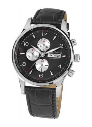JACQUES LEMANS 'Classic' London Chronograph Watch 10ATM 44mm S/S Case Black Dial