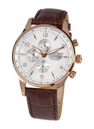 JACQUES LEMANS 'Classic' London Chronograph Watch 10ATM 44mm R/G Case White Dial