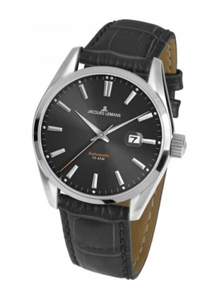 JACQUES LEMANS 'Classic' Automatic Date Watch 10ATM 42mm Case Black Strap & Dial