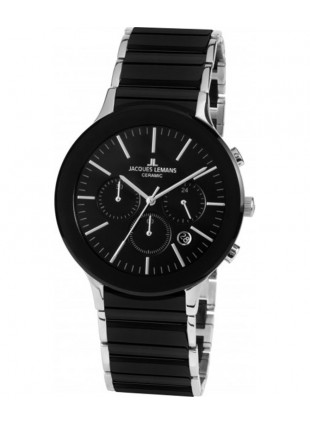 JACQUES LEMANS Classic Dublin Chrono Watch 42mm Sapphire Ceram Bracelet Blk Dial
