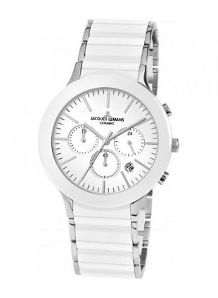 JACQUES LEMANS Classic Dublin Chrono Watch 42mm Sapphire Ceram Bracelet Wht Dial