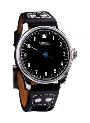AZIMUTH ROUND-1 BACK IN TIME BLACK PILOT WATCH ANTICLOCKWISE MOTION ETA MOVT