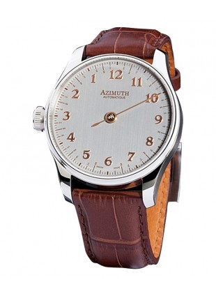 AZIMUTH ROUND-1 BACK IN TIME SILVER ROSE WATCH ANTICLOCKWISE MOTION ETA MOVT