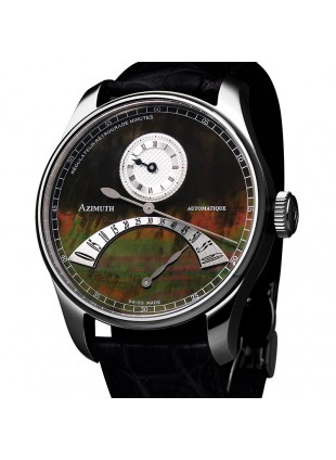 AZIMUTH REGULATEUR RETROGRADE MINUTES RRM WATCH PEARL DIAL CROCODILE STRAP