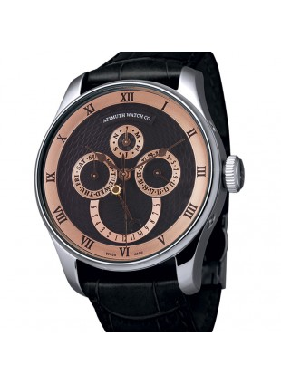 AZIMUTH ROUND-1 CALENDRIER BLACK WATCH CALENDAR DAY/DATE/MONTH ETA 2836-2