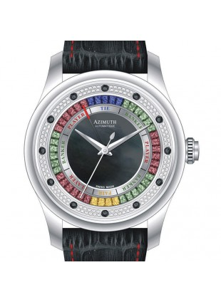 AZIMUTH ROUND-1 GRAND BACCARAT GAME WATCH MENS MID DIAMOND SET DIAL