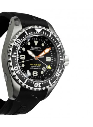 AZIMUTH XTREME-1 SEA-HUM GMT WATCH HEV 1500m/4921ft WR ETA BLACK RUBBER STRAP
