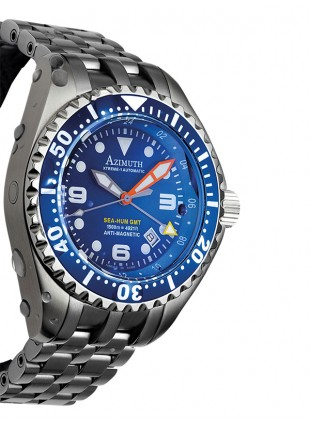AZIMUTH XTREME-1 SEA-HUM GMT DIVING WATCH 1500m/4921ft WR S/S BRACELET BLUE