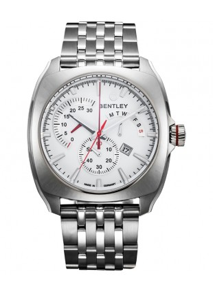 BENTLEY 'Solstice' Swiss Quartz Chronograph Date Watch 45mm SS Case White Dial
