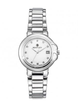BENTLEY 'Lady Bentley' Quartz Watch 35mm SS Case & Bracelet White Zirconia Dial