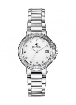 BENTLEY 'Lady Bentley' 68 Diamond Quartz Watch 35mm SS Case White Zirconia Dial