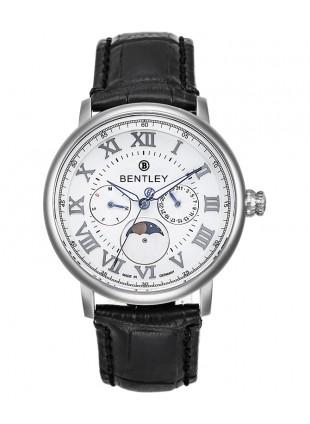 BENTLEY 'Denarium' Quartz Moonphase Watch Day/Date 42mm S/Steel Case White Dial