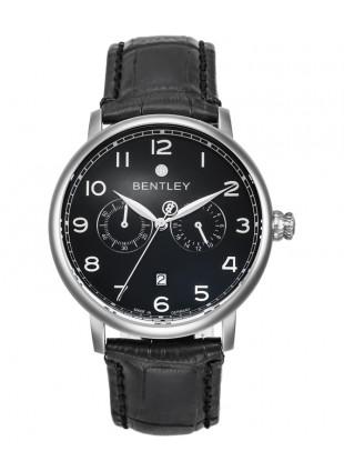 BENTLEY 'Denarium' Swiss Quartz Moonphase Watch Day/Date/Month 42mm Blk Dial