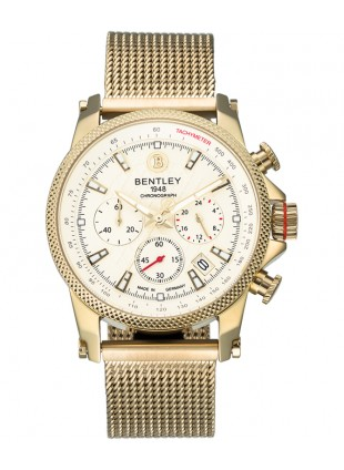 BENTLEY 'Racing' Quartz Chronograph Tachy Date Watch 43mm Gold Case Ivory Dial