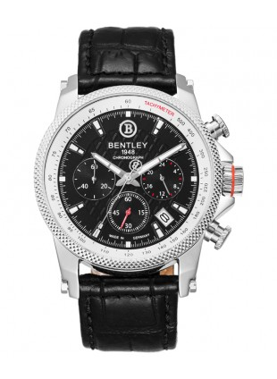 BENTLEY 'Racing' Quartz Chronograph Date Watch 43mm SS Case Blk Strap & Dial
