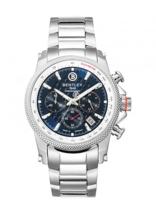 BENTLEY 'Racing' Quartz Chronograph Tachymeter Date Watch 43mm SS Case Blu Dial