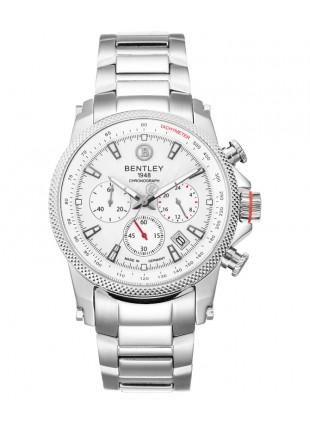 BENTLEY 'Racing' Quartz Chrono Tach Date Watch 43mm SS Case/Bracelet White Dial