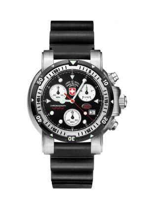 CX SWISS MILITARY DIVERS SW1 SCUBA WATCH ETA CHRONO 1000m/3300ft WR BLACK