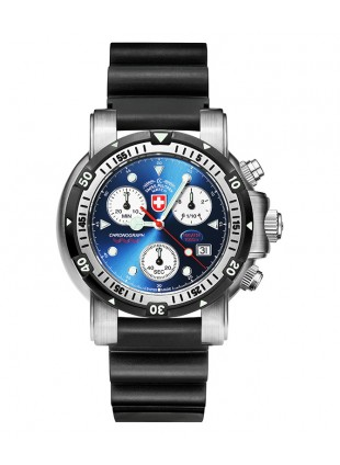 CX SWISS MILITARY DIVERS SW1 SCUBA WATCH ETA CHRONO 1000m/3300ft WR BLUE