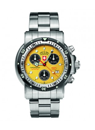 CX SWISS MILITARY DIVERS SW1 WATCH SWISS ETA CHRONO 1000m/3300ft WR YELLOW