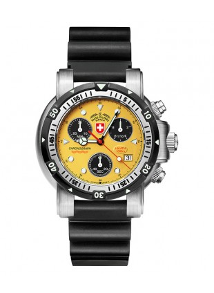 CX SWISS MILITARY DIVERS SW1 SCUBA WATCH ETA CHRONO 1000m/3300ft WR YELLOW