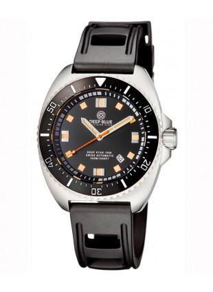 Deep Blue Deep Star 1000 Swiss Auto dive watch Ceramic bezel Black Dial/Strap