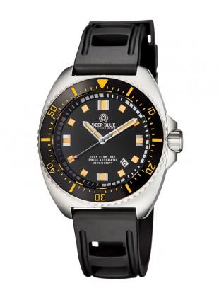 Deep Blue Deep Star 1000 Swiss Auto dive watch Black/Orange dial Black strap