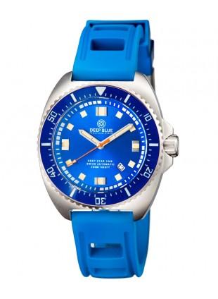 Deep Blue Deep Star 1000 Swiss Auto dive watch Ceramic bezel Blue Dial/Strap