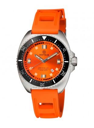 Deep Blue Deep Star 1000 Swiss Auto dive watch Ceramic bezel Orange Dial/Strap