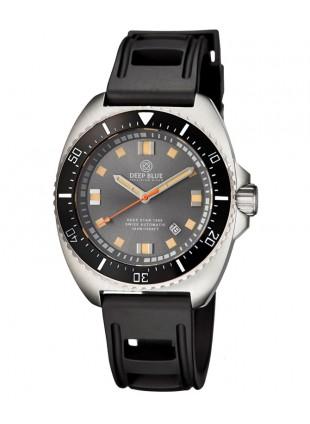 Deep Blue Deep Star 1000 Swiss Auto dive watch Ceramic bezel Grey Dial Blk Strap